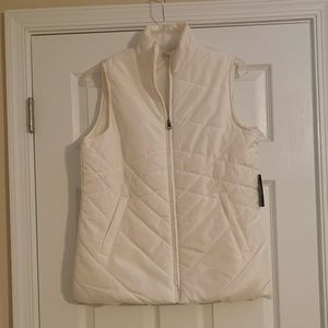 New white quilted vest